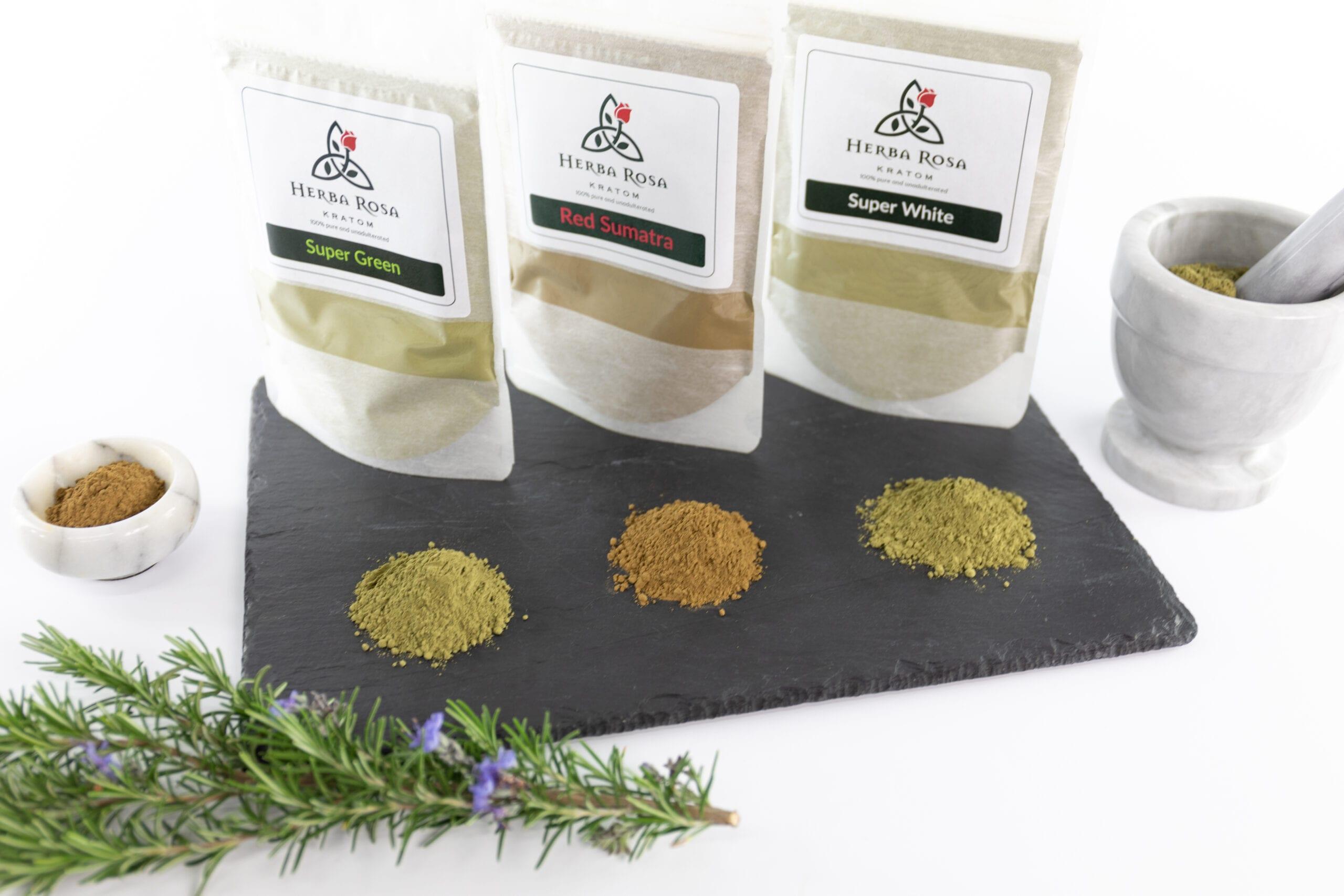 Herba Rosa Kratom bags - all three strains