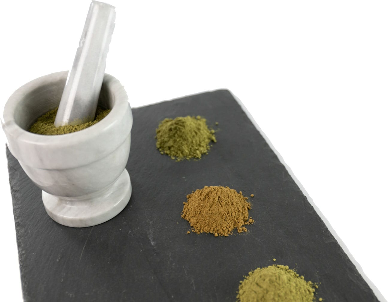 Kratom Powder with Mortar and Pestle