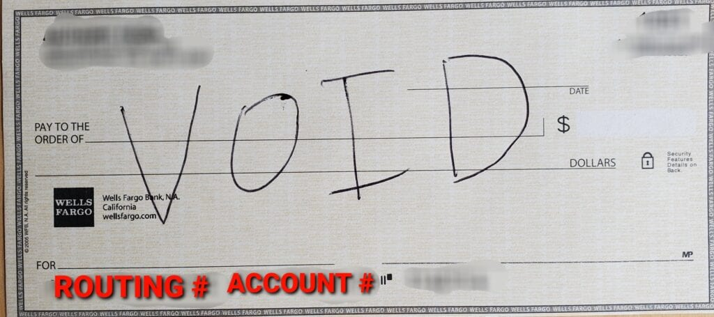 Check with Routing and Account number highlighted