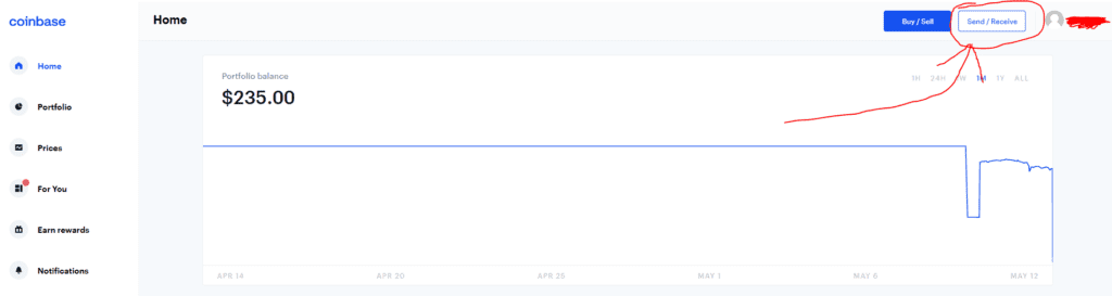 send/ receive button on crypto exchange